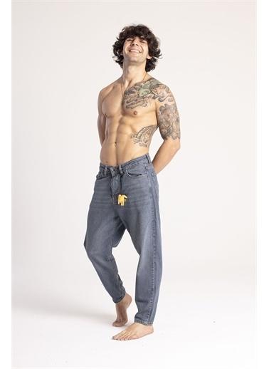 XHAN Yıkamalı Mavi Boyfriend Kot Pantolon 1Kxe5-44671-49 Mavi